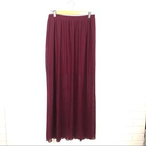 Happening In The Present Sheer Cranberry Skirt